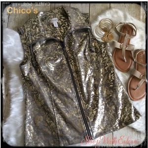 Weekends By Chico's Gold Burnout Vest NWOT